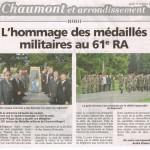 la médaille militaire au 61 RA