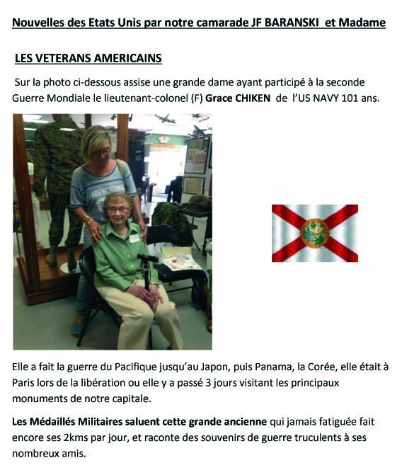 Nouvelles des Etats Unis   par notre camarade JF BARANSKI  et Madame